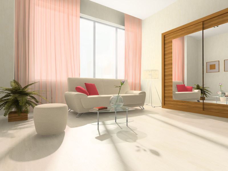 Interior of the room with red blind, sofa and closet
